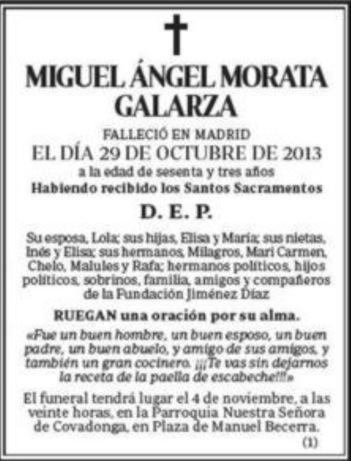 Tal como se dijo ayer, la esquela de la familia Morata en ABC dio la ...
