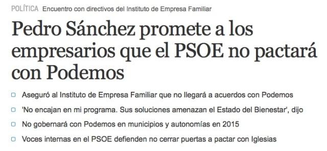 Pedro no pactará con Podemos
