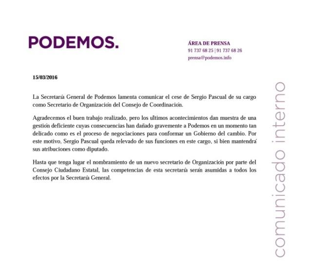 Nota de Prensa de Podemos
